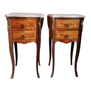 Vintage French Louis XV Bombe Marble-Top Bedside Tables - a Pair For Sale