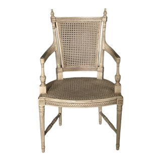 French Louis XVI Style Painted Arm Chair With Double Caning For Sale