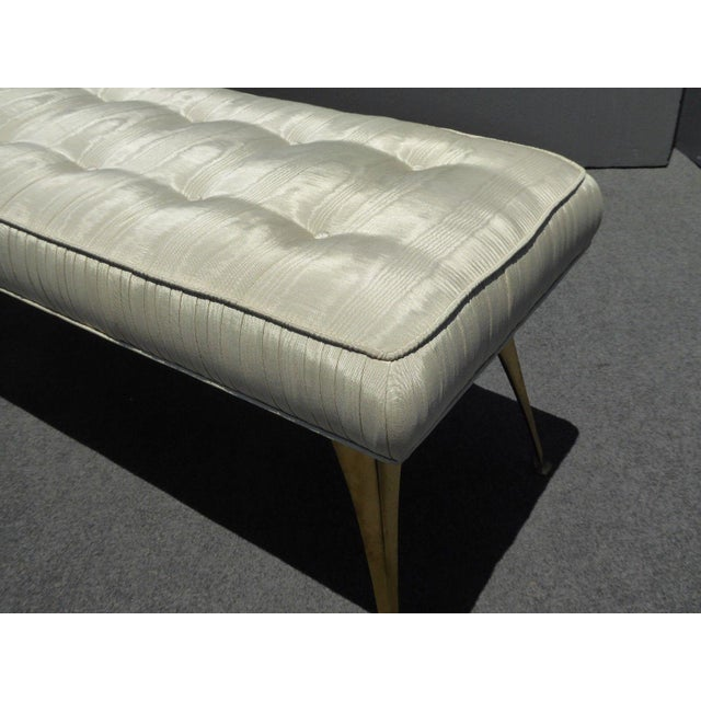 Jonathan Adler Style Mid-Century Modern Bench With Brass Legs - Image 9 of 11