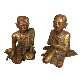 19th Century Gilded Gem Encrusted Seated Monk Sculptures - a Pair For Sale