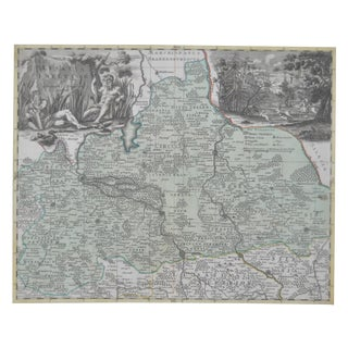 18th Century Hand Colored Map C.1700 For Sale