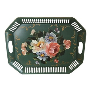 Vintage Reticulated Green Painted Tole Tray For Sale
