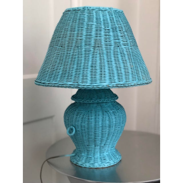 Blue Wicker Urn Lamp and Shade For Sale - Image 9 of 9