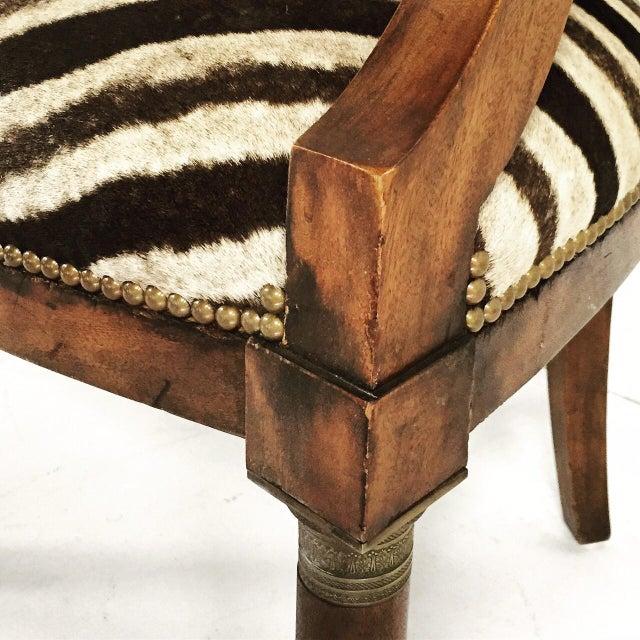 Walnut Zebra Seat Barrel Chair - Image 5 of 5