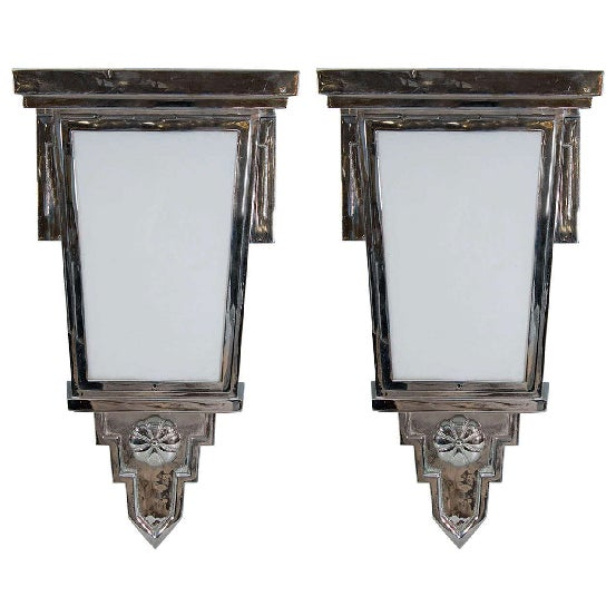 High End Pair of French Art Deco nickeled bronze wall sconces.