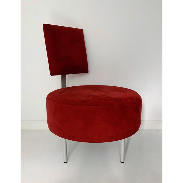 Vintage Andreu World contemporary red round lounge chair with tilted backrest, circa 1980's in excellent condition.