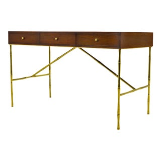 Kipp Stewart Desk With Brass Bamboo Form Legs by Directional For Sale