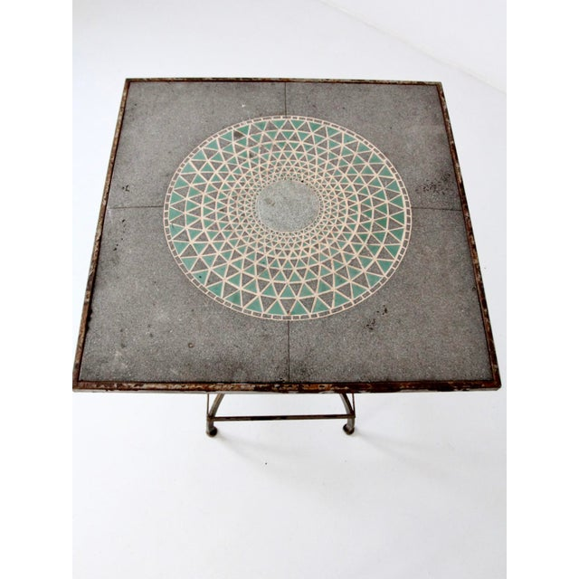 Vintage Mosaic Tall Patio Table - Image 6 of 11