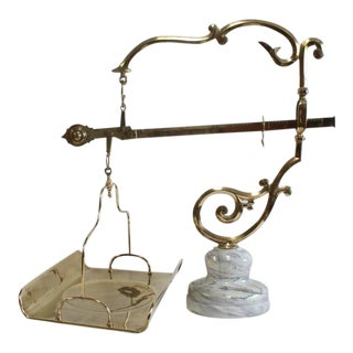 Mid 20th C. Vintage Italian Decorative Brass Baker's Scale For Sale