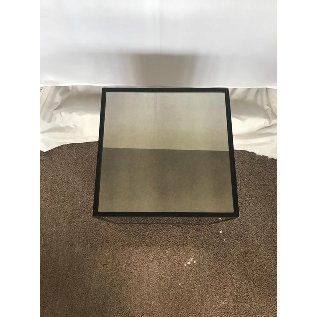 Ralph Lauren Style Antiqued Glass Cube Side Table - Image 3 of 7