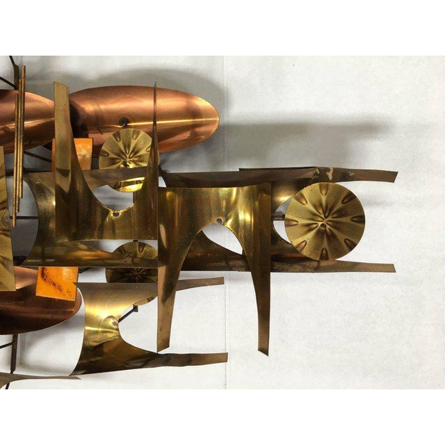 William Vose for Curtis Jere Brass and Copper Brutalist Wall Sculpture Clock For Sale In Los Angeles - Image 6 of 10