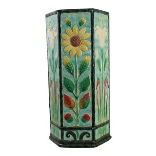 Wedgwood Majolica Umbrella Stand Turquoise Ground, Aesthetic Movement, 1882 For Sale