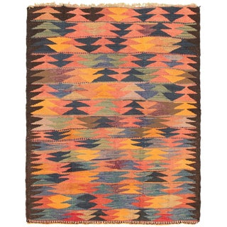 "1950s Vintage Turkish Geometric Rug-4'5'x5'6"" For Sale"