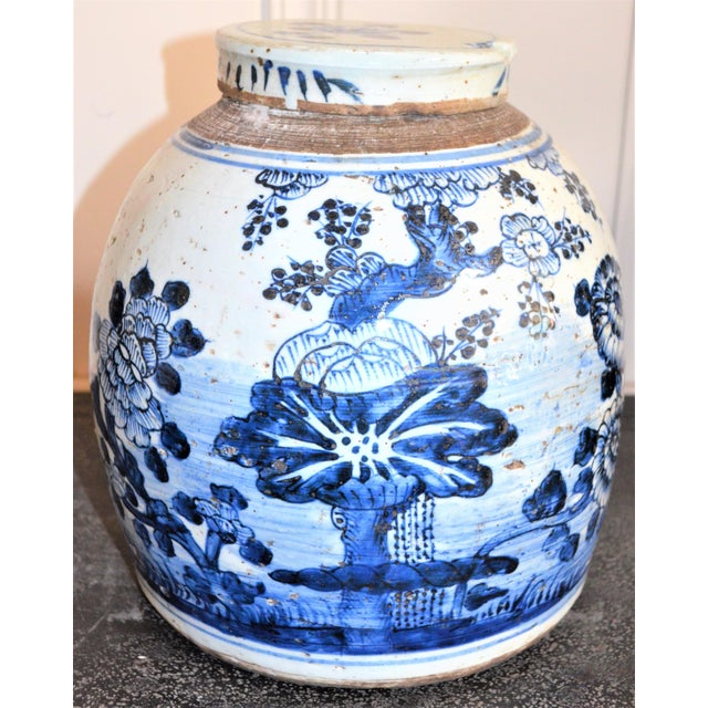 Chinoiserie Chinoiserie White & Blue Floral Ginger Jar For Sale - Image 3 of 7