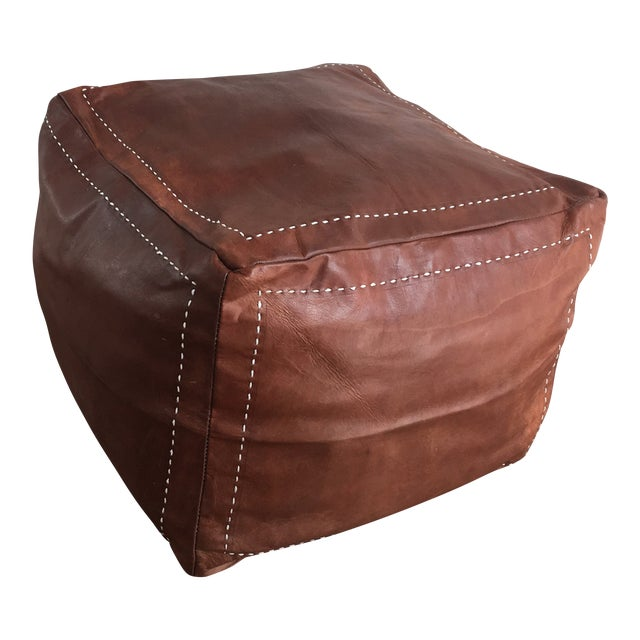 buy online 308da d1a53 Congac Leather Floor Pouf With Stitching