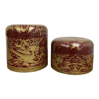 Maitland-Smith Hand Painted Red Lacquer Boxes - a Pair For Sale