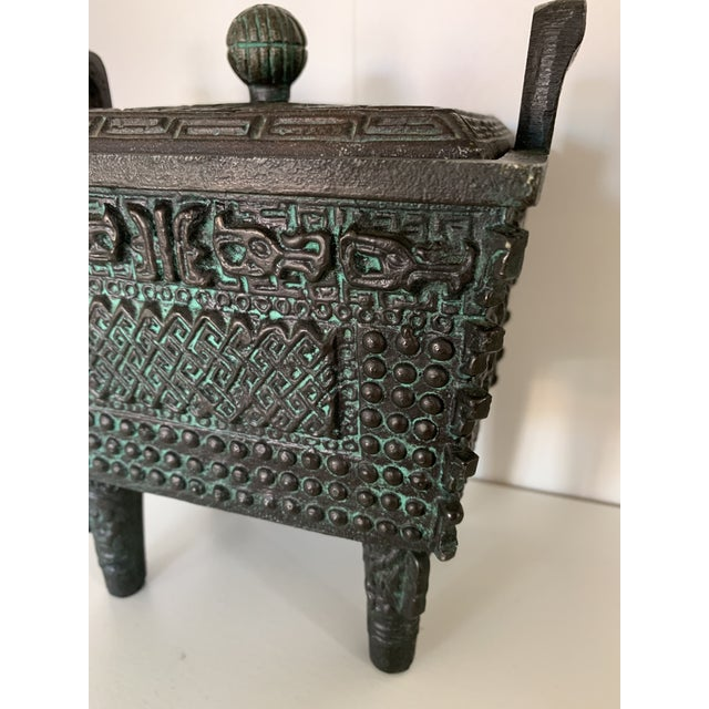 Asian Vintage Taiwanese Metal Box on Legs For Sale - Image 3 of 7