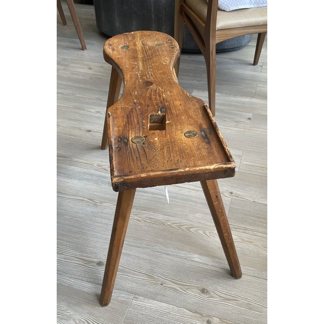 American Antique Primitive Rustic Handmade Wooden Farm Milking Stool Bench For Sale - Image 3 of 9