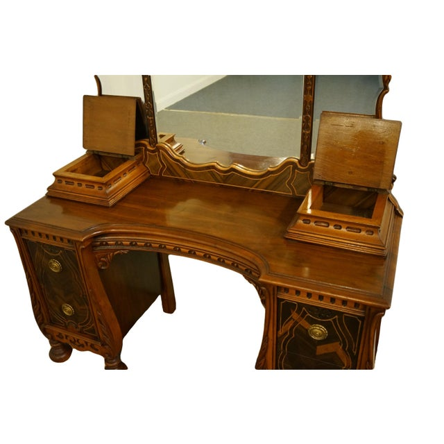 """Wood Bassett Furniture French Regency Style 47"""" Vanity With Mirror For Sale - Image 7 of 13"""