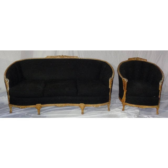 Antique Black Chair With Carved Wood Rails - Image 2 of 7