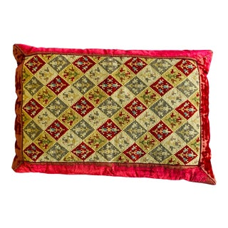 Antique Cross Stitched and Velvet Pillow For Sale