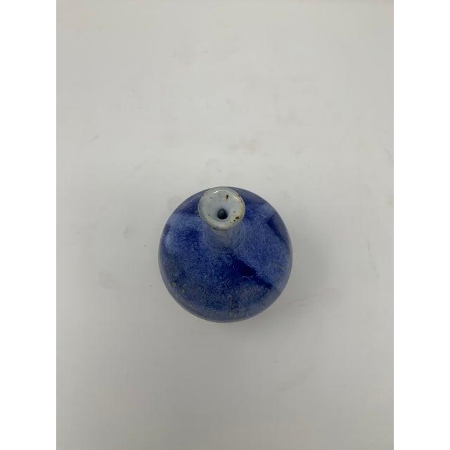 Ceramic Mid 20th Century Round Blue Ceramic Vase For Sale - Image 7 of 10