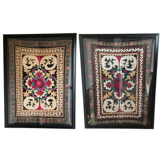 Framed Embroidered Suzani Panels - A Pair