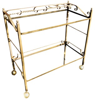 French Gilt and Black Wrought Iron Bar Cart For Sale