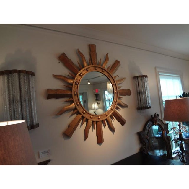 Gold 1960's Vintage Italian Gilt Iron Sunburst Mirror in the Style of Gilbert Poillerat For Sale - Image 8 of 10