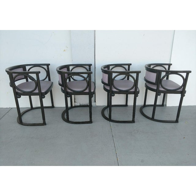 Mid-Century Modern Vintage Joseph Hoffmann Style Wrap-Around Armchairs - Set of 4 For Sale - Image 3 of 12