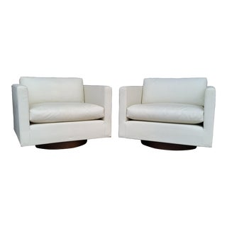 1960s Vintage Harvey Probber Swivel Club Chairs - A Pair For Sale