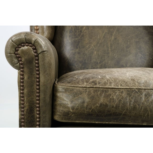 Regency Style Green Leather Club Chair and Ottoman - Image 5 of 11