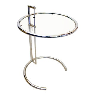 20th Century Modern Eileen Gray Chrome and Glass Adjustable Side Table For Sale