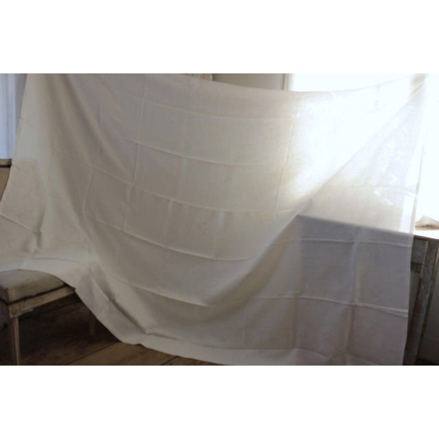 """French Vintage French White Linen Cotton Damask """"VT"""" Christmas Tablecloth - 62"""" x 90"""" For Sale - Image 3 of 9"""