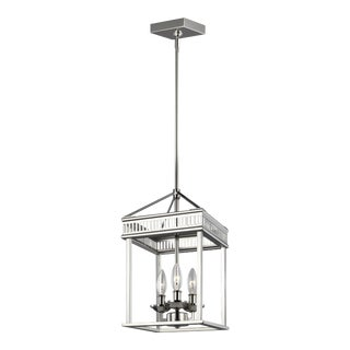 Transitional Silver 3 - Light Pendant Steel For Sale