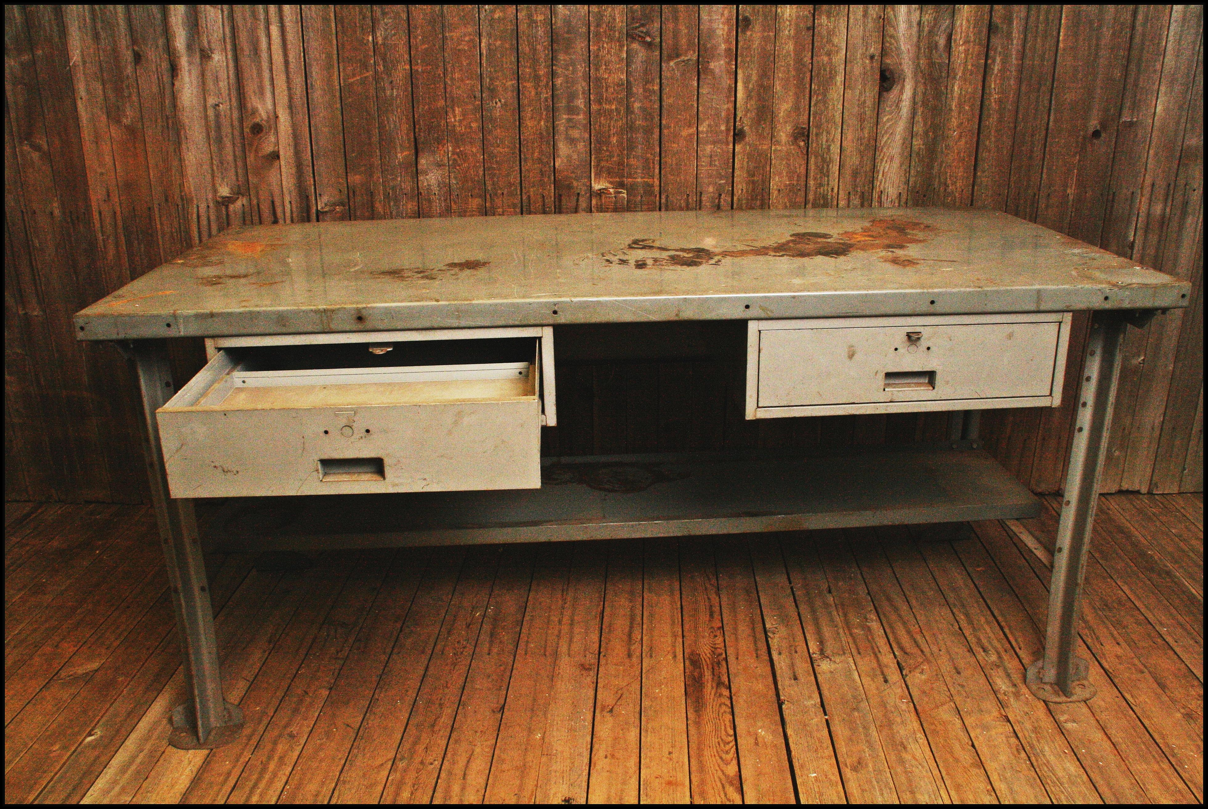Vintage Industrial Steel Work Bench By Lyon Chairish