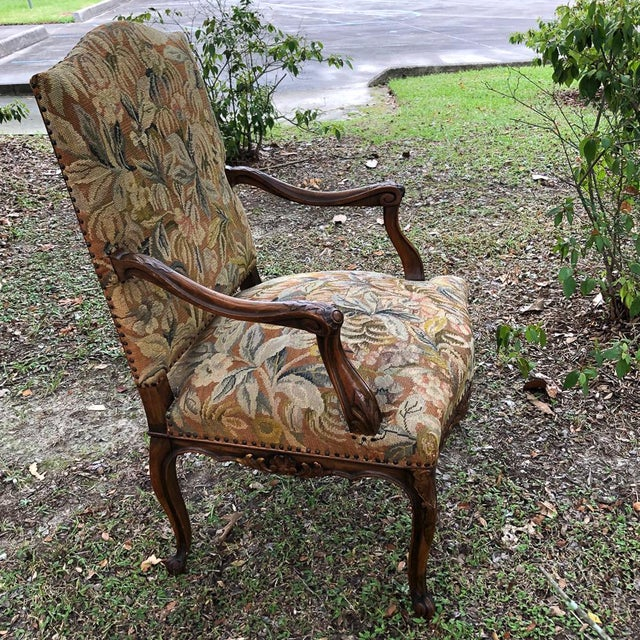 French 19th Century French Louis XV Tapestry Armchair For Sale - Image 3 of 13