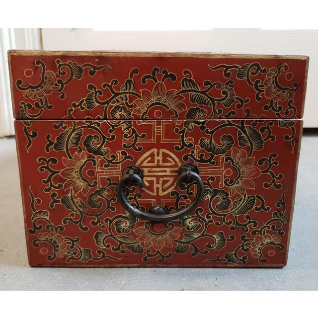 Red Late 19th Century Chinese Painted Lacquered Wood Carved Imperial Court Motif Chest For Sale - Image 8 of 10