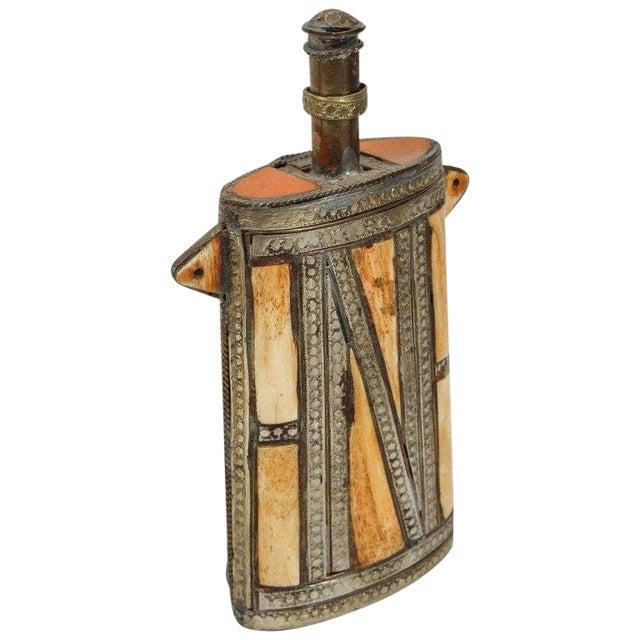 Moroccan Berber Brass Tribal Gun Powder Flask With Bone Inlay For Sale