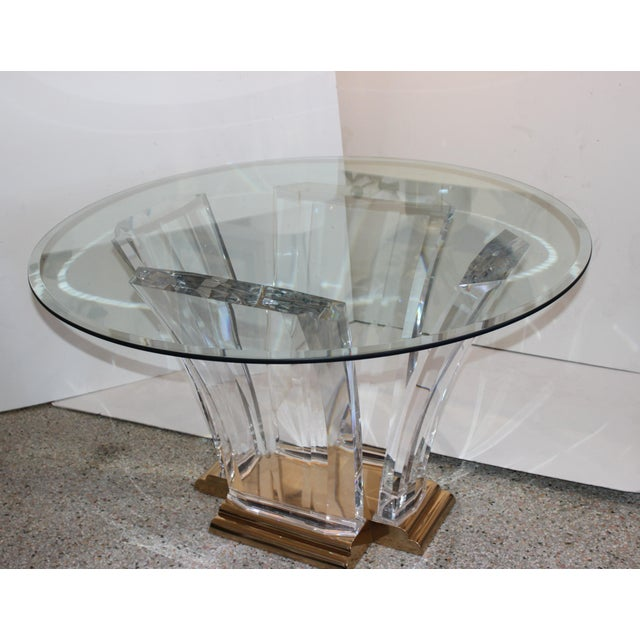 Bigelow Table Base in Lucite and Polished Brass 1980s For Sale - Image 11 of 12