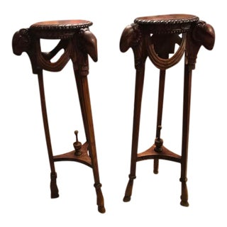 Antique Wooden Rams Head Side Tables - A Pair