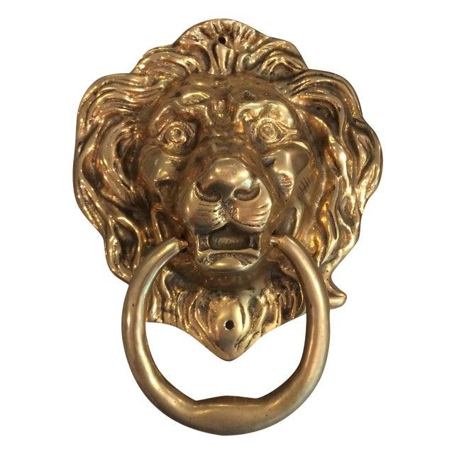 Oversize Brass Lion Head Door Knocker For Sale