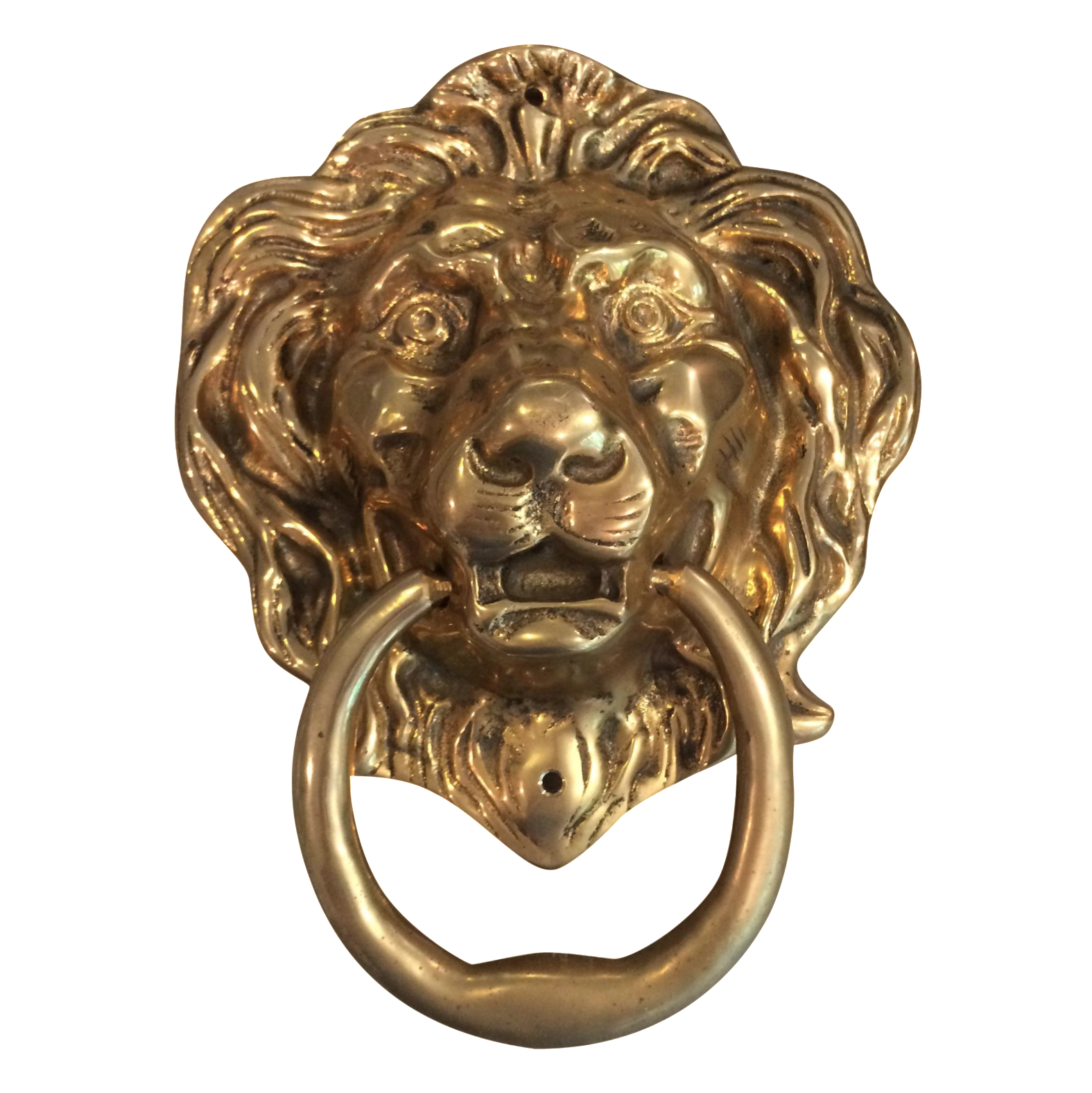 Oversize Brass Lion Head Door Knocker