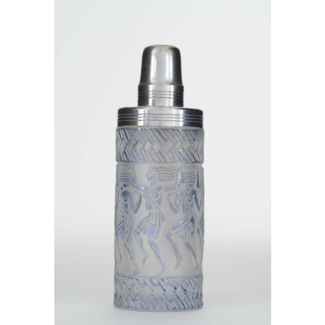 French Art Deco cylindrical frosted and blue stained glass perfume burner bottle (DANSEUSES EGYPTIENNES) with an embossed...