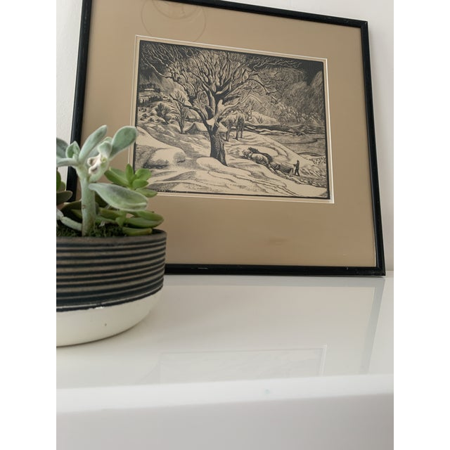 "Woodcut by Eloise Howard ""Opening the Road"" 1936 For Sale - Image 10 of 11"