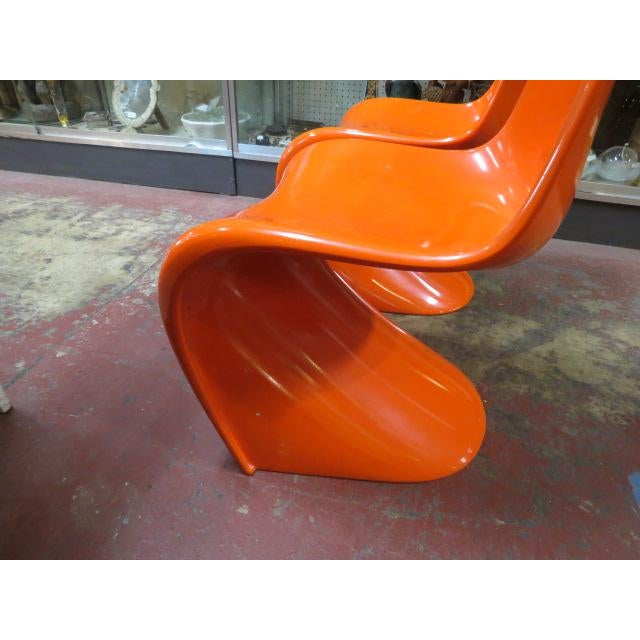 1960s Vintage Vitra for Herman Miller Mid-Century Modern Orange Verner Panton S Chairs - a Pair For Sale - Image 5 of 13
