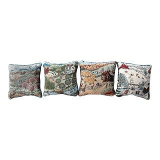 Four Seasons Tapestry Folk Art Throw Pillows - Set of 4 For Sale