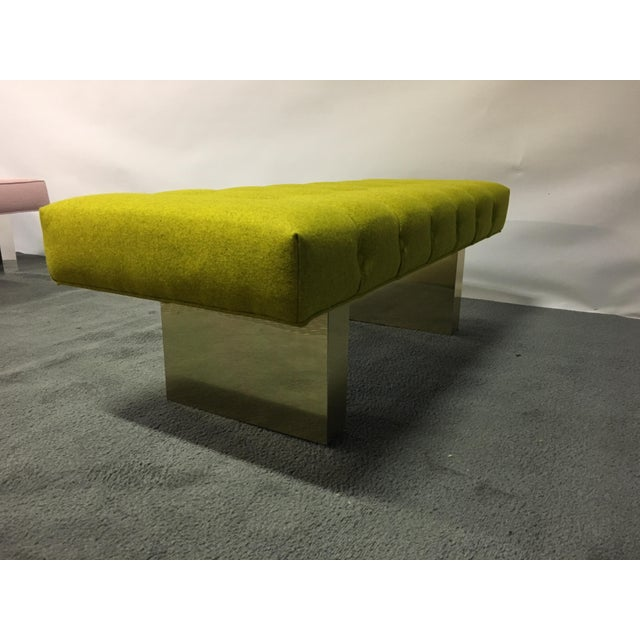 Mid-Century Modern Bright Yellow Tufted Bench on Brass Base For Sale - Image 9 of 11