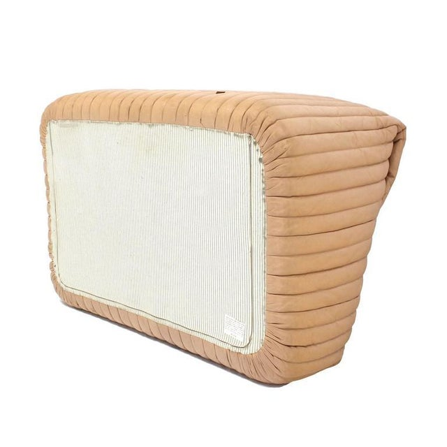 Ligne Roset Beige Ribbed Leather Loveseat and Chair For Sale - Image 9 of 9