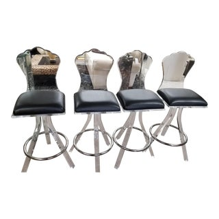 Lucite Bar Stools - Set of 4 For Sale